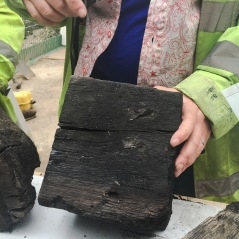 Wood from the square Roman quay, stamped with Roman letters