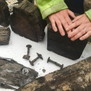 Bits of wood and nails from the medieval quay